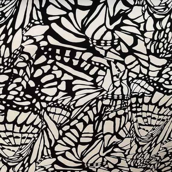 Prevešanka čb metulj črte